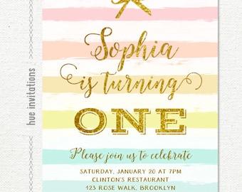 first birthday invitation, gold glitter rainbow girls 1st birthday invitation, pastel stripes pink yellow blue gold bow birthday party 228