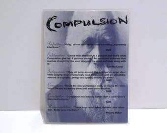 Compulsion Display Sign 1998 Vintage Boogie Woogie Record Store Laminated Band Card Alternative Rock Punk Garage Indie 1990s Mohawk Music