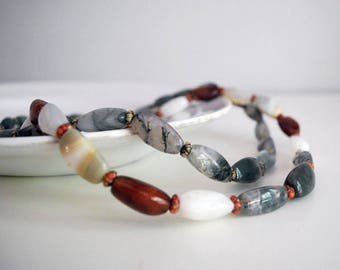 Beggar Bead Necklaces, Two Agate Necklaces, Natural Multicolored Gemstones, Hand Knotted, Vintage Boho Jewelry, Moss Agate, Jade