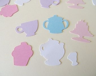 Tea Party Confetti - Beauty & The Beast Inspired - Set of 180 - Handmade - Mrs. Potts, Chip, Tea Cup, Cake, Cupcake, Sugar Bowl