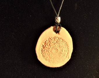 Terracotta Clay Diffuser Pendant, Floral Pattern, Black cotton cord, Diffuser necklace, Aromatherapy pendant, Diffuser Necklace,