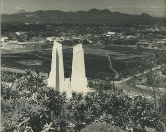 Modern architecture church ? in mountains antique photo