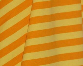 "Buttercream stripes 1/2"" cotton lycra knit 1 yard"