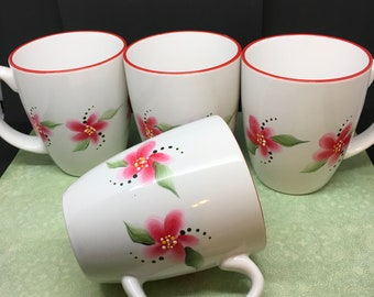 Mugs Cups Coffee Tea Hand Painted Red Floral Corelle Stoneware Classic Cafe White Red Rimmed SET of 4 Gift Idea One of a Kind Kitchen Decor