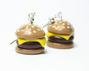 Handmade Cheeseburger earrings