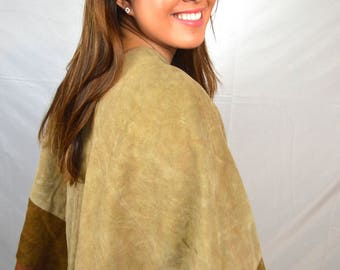 Vintage Boho Leather Suede Poncho Sweater Pullover