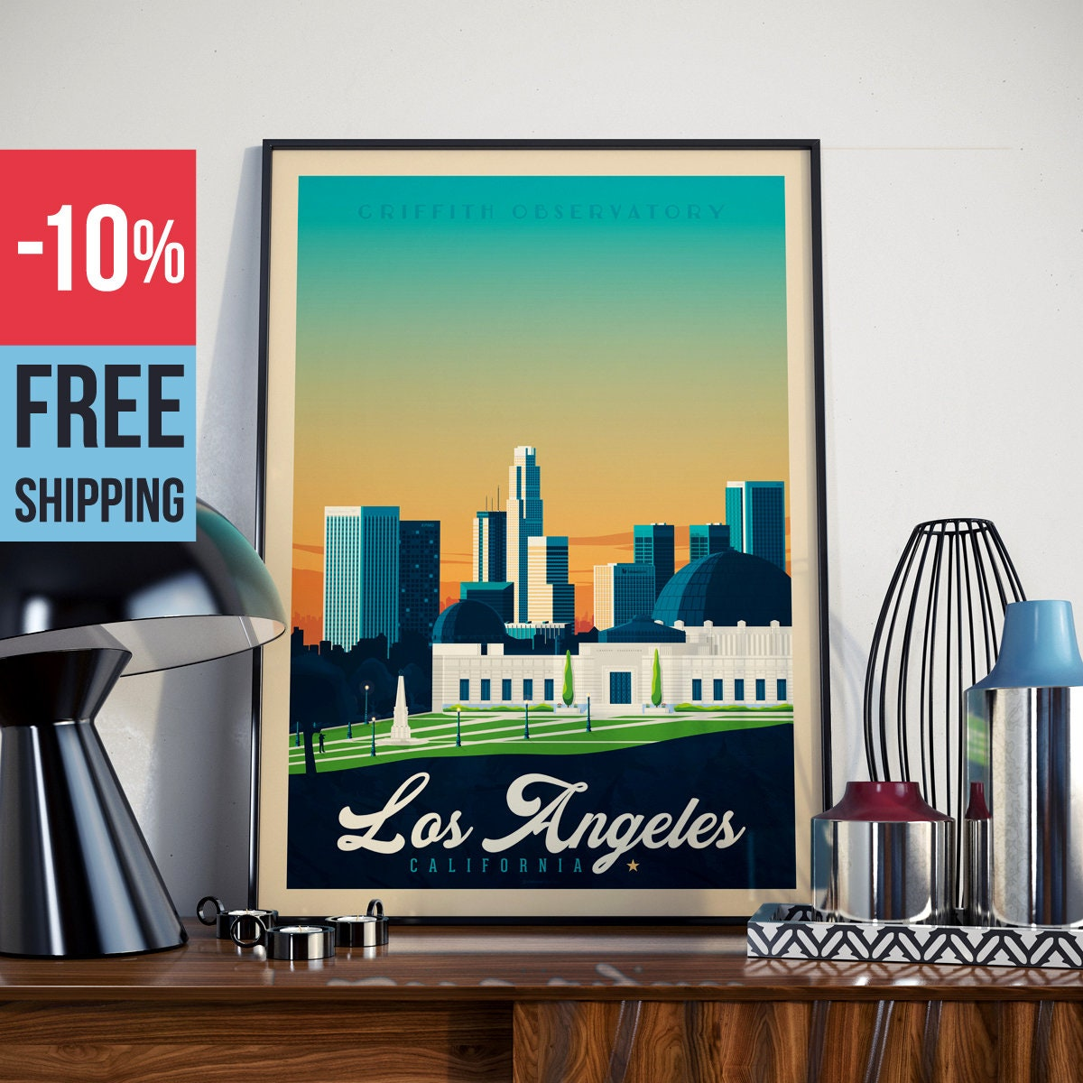 Los Angeles California USA Print - Los Angeles Vintage travel Poster ...