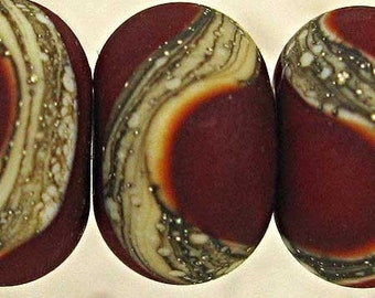 Frosted Red Glass Lampwork Beads with Silvered Ivory, Handmade Set of 6 11x7mm Etched Red Velvet