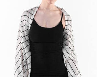 Off White, Printed Lace with Black stripe