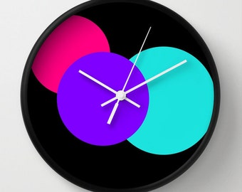 Clock,  Pink Purple Turquoise White Circles Clock, Colorful Clock, Modern Clock, Geometric Clock, Wall Clock, Home Decor, Kitchen Clock