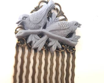 Slate Grey Birds on a Branch Antique Brass Hair Comb-Woodland Wedding-Ornithology-Fashion Accessory-Hair Accessory-Formal Prom Hair-Style