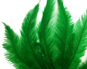 Ostrich Feathers, 1/2 Lb - Kelly Green Mini Spads Ostrich Wholesale Chick Body Feathers (Bulk) : 4235