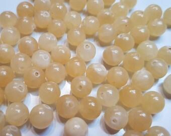 10 pearls semi precious gemstone 8mm yellow JADE