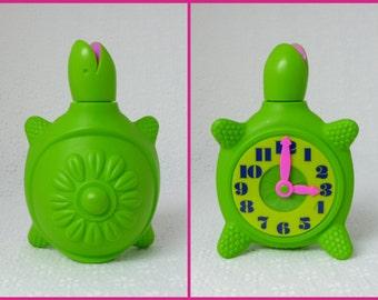 Tic Toc Turtle, Vintage 1960's, Rare Collectible Avon Bottle, Turtle Clock Figure, Children's Bubble Bath, Bright Green Plastic, Neon Pink