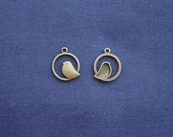 2 charms bird bronze metal circle