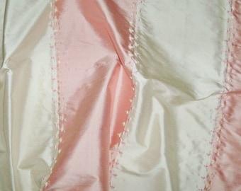 SILK LOOM ADELINA Embroidered Silk Stripes Fabric 10 Yards Pink Cream
