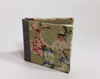 Small Pale Green Marbled Blank Hand Bound Hardcover Book/Journal/Notebook/Sketchbook/Diary with Gray Bookcloth Spine