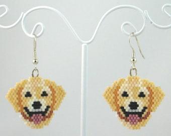Beaded Yellow Lab Earrings