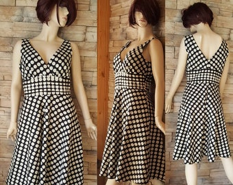 Polka dot summer dress/black white polka dots/pin up dress/60s style/goth fashion/cotton dress/Lori M collection/size 12/lined/90s does 60s