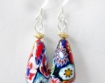 Venetian Moretti Millefiori Bead Dangle Earrings  Silver Plate Ear Hooks Vintage Beads Upcycled Jewelry