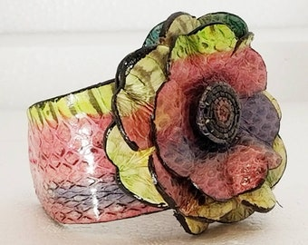 Multicolored Snakeskin Leather Flower Cuff Bracelet