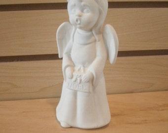 DIY Ceramic bisque ready to paint ceramic to paint PYOP ceramic Angel Christmas decor Christmas Angel Noel singing standing Angel