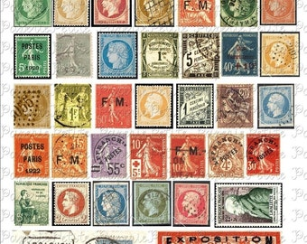 French Stamps Digital Download Collage Sheet