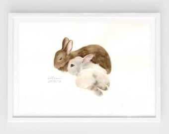 "Original watercolor,bunny painting,""bunny love N.1"",original painting,7""x10"",home decor"