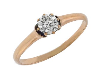 Victorian 0.33ct Old Mine Cut Diamond Soliatire 14k Pink Gold Engagement Ring
