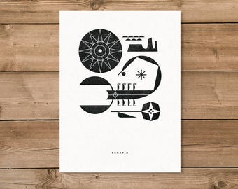 Scorpio Letterpress Print