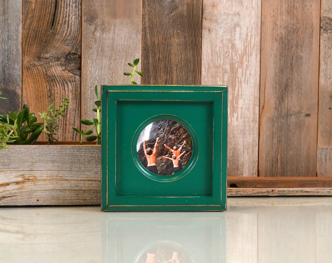 3x3 Circle Opening Picture Frame with Outside Cove Build up Edge and Vintage Peacock Green Finish - IN STOCK - Same Day Shipping