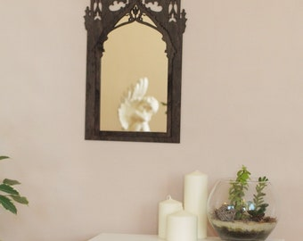 gothic mirror, medieval windows mirror, gothic furniture ,gothic home decor