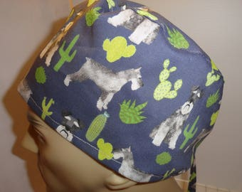 Mens scrub hat, surgical hat, Schnauzer dogs, lots of them, surgeons style, Sahalee, cotton, ties in back