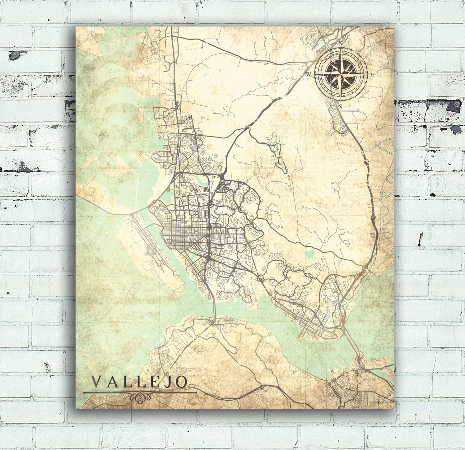 VALLEJO CA Canvas Print CA California Vintage map Vallejo Ca