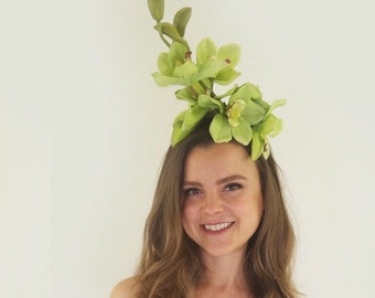 Green orchid fascinator