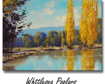 Autumn Paintings Autumn landscape Trees painting River painting Australian art by G.Gercken