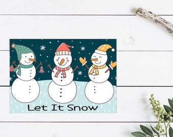 Let it Snow, Snowman Greeting Card, Christmas Greeting Card, Holiday Sentiment, Christmas Card, Snowman Card, Winter Wishes, Thinking of You