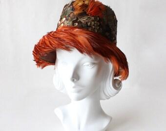 1950s Hat / Vintage Rust Pheasant Feather Bucket Hat