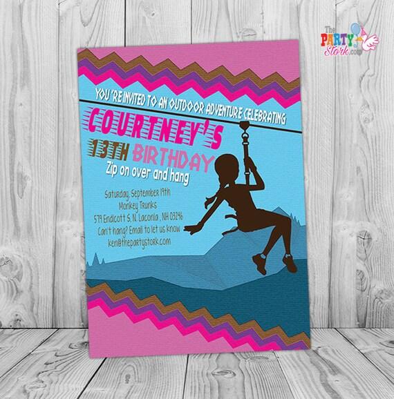 Zipline Invitation: Custom Printable Teen Girl Birthday Party