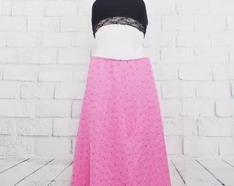 Pink Polka Dotted Long Vintage Skirt
