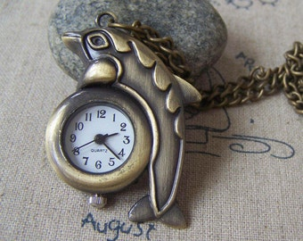 1 PC Antique Bronze Dolphin Pocket Watch Pendant 28x39mm A4619