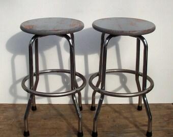 Vintage Industrial Stools Wood and Metal / Refurbished / Distressed Wood Seats / Metal Frame Stools / Studio Workshop Stools / 2 Stools PAIR