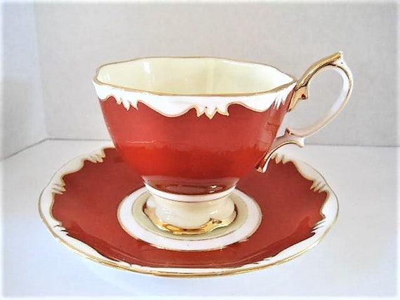 Royal Albert Crown China,  Footed Cup and Saucer, Blood Red, White Gilt Scalloped Edging, Pattern 1969, China England