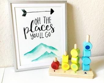Oh the places you'll go, dr seuss, nursrey art, playroom art, kids room art, watercolor art