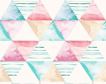 Shapes Aqua - Printed Cotton Fabric