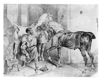 """Shoeing the Horse""""  - Digital Download of old charcoal and pencil drawing  -  issued 1834"""