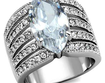 Stainless Steel 316L 5.82ct Marquise Cut Zirconia Wide Band Engagement Ring 5-10