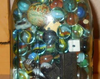 Blue Mason Jar with Marbles