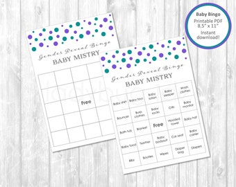 Gender Reveal bingo cards. Printable. Custom colors. Baby bingo. Golden and white. instant download. Games for baby shower. Custom colors.