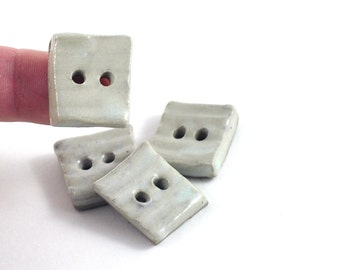 Handmade Ceramic Buttons Cream or Blue Stripe Rib Texture Set of Four Square Pottery Buttons Sewing Crochet Knitting
